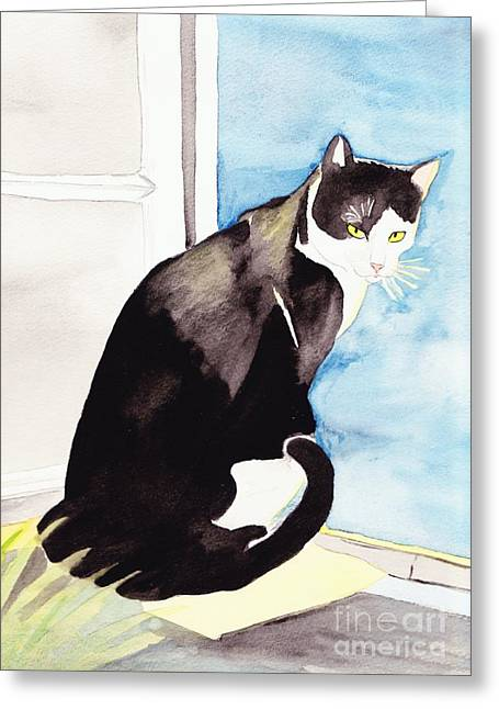 Black And White Cat Greeting Card by Michaela Bautz