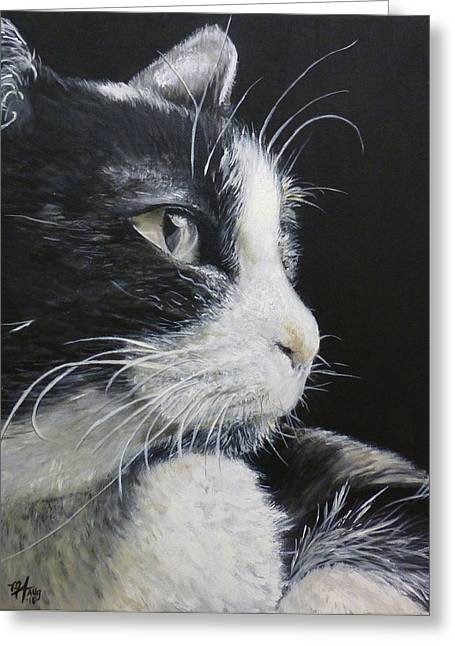 Black And White Cat Greeting Card by Michelle Iglesias