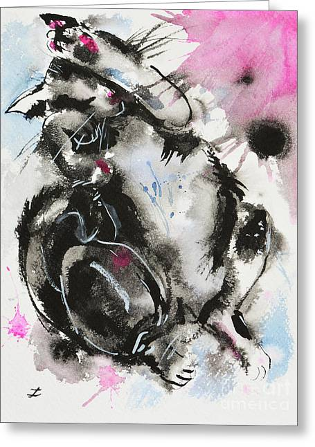 Greeting Card featuring the painting Black And White Cat Sleeping by Zaira Dzhaubaeva