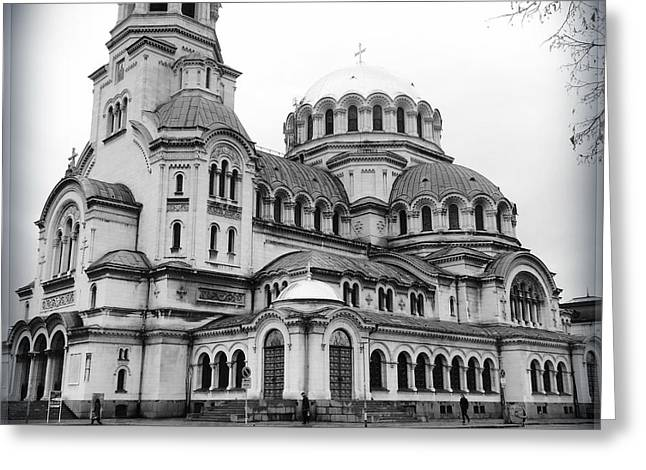 Black And White Cathedral Greeting Card