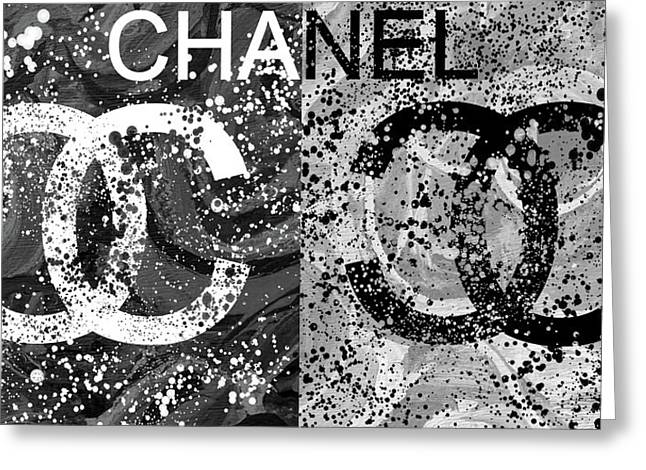 Black And White Chanel Art Greeting Card