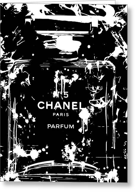 Black And White Chanel Splatter Greeting Card