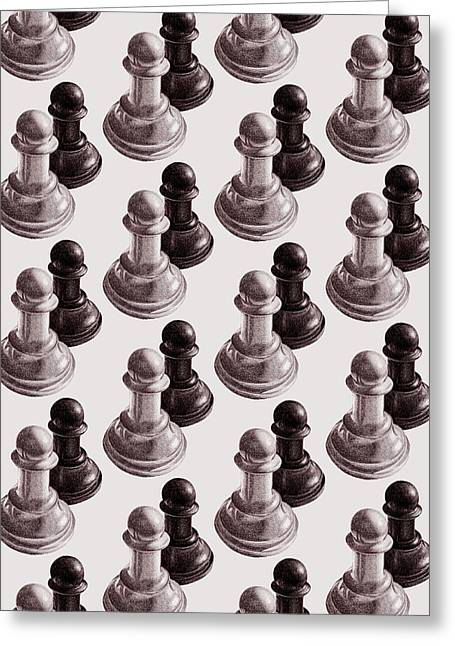 Black And White Chess Pawns Pattern Greeting Card by Boriana Giormova