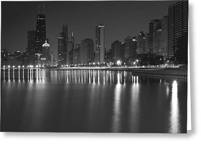 Black And White Chicago Skyline At Night Greeting Card