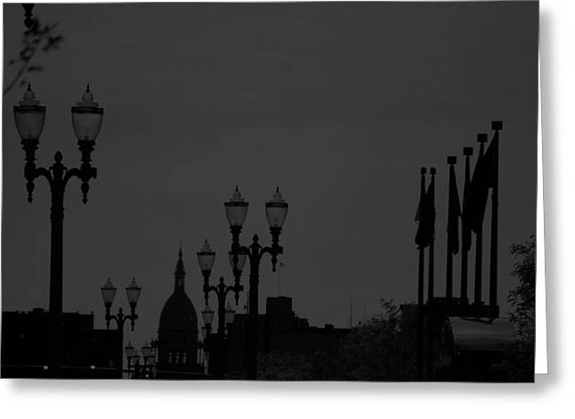 Black And White City Scape  Greeting Card by Michelle  BarlondSmith