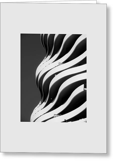 Black And White Concrete Waves Greeting Card
