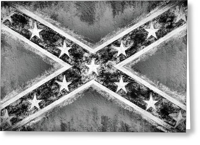 Black And White Confederate Flag Greeting Card by Historic Galleries