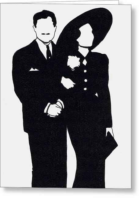 Black And White Couple Greeting Card