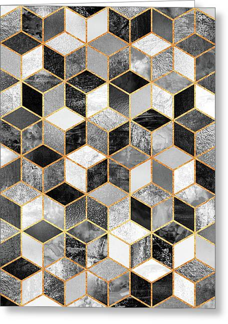 Black And White Cubes Greeting Card