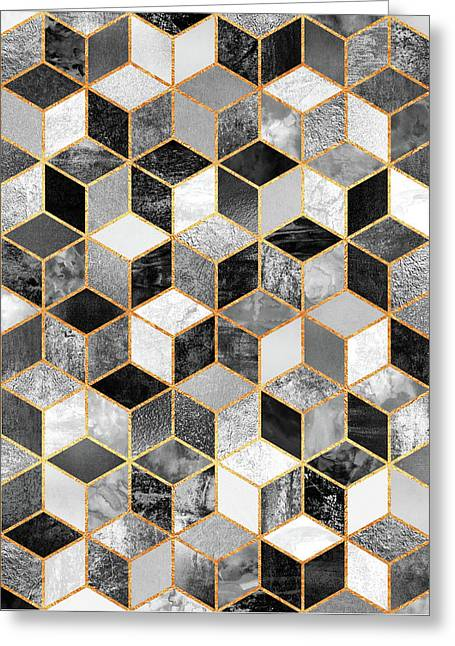 Black And White Cubes Greeting Card by Elisabeth Fredriksson