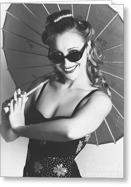 Black And White Dancer Holding Vintage Umbrella Greeting Card by Jorgo Photography - Wall Art Gallery