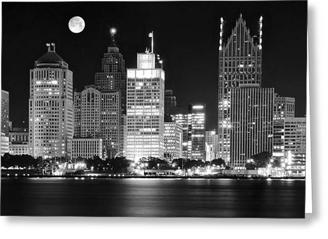 Black And White Detroit Night Greeting Card by Frozen in Time Fine Art Photography