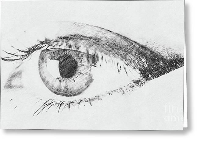 Black And White Digital Sketch Of Human Eye Greeting Card