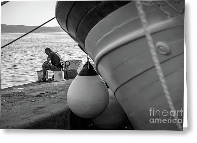Black And White - Fisherman Cleaning Fish On Docks Of Kastel Gomilica, Split Croatia Greeting Card