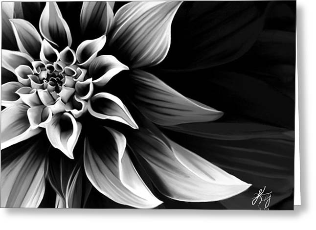 Black And White Flower Greeting Card by Kendall Tabor