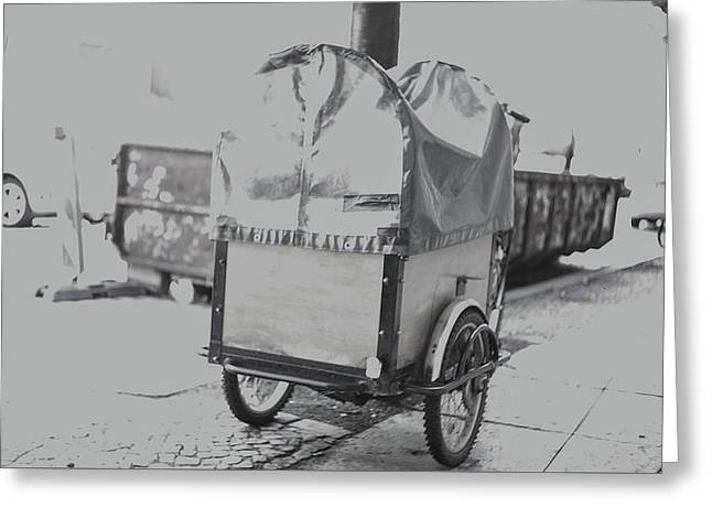 Black And White German Stroller Greeting Card