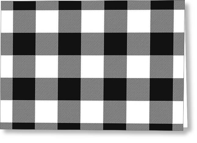 Black And White Gingham Large- Art By Linda Woods Greeting Card