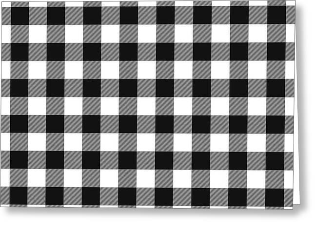 Black And White Gingham Small- Art By Linda Woods Greeting Card