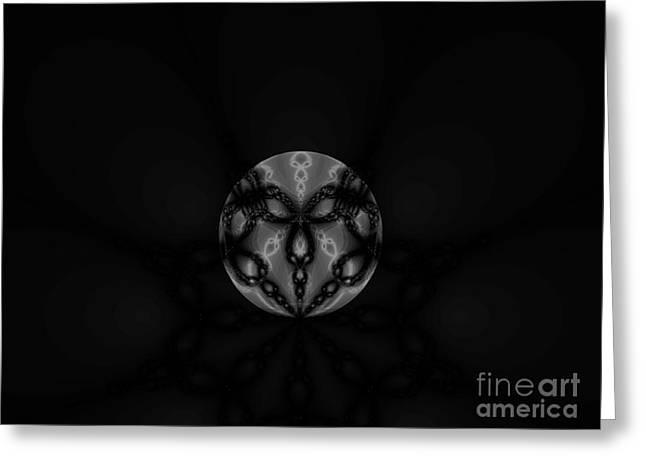Black And White Globe Fractal Greeting Card