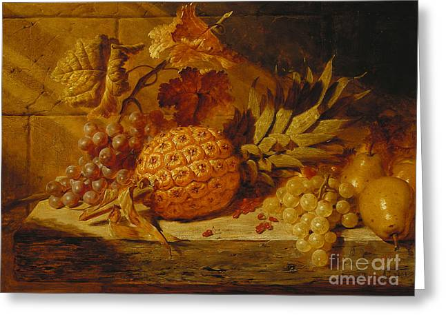 Black And White Grapes, Pears, Redcurrants And A Pineapple On A Ledge, 1845  Greeting Card