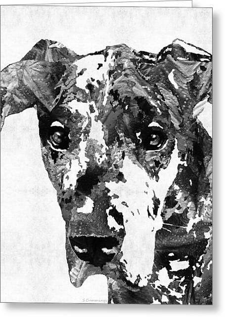 Black And White Great Dane Art Dog By Sharon Cummings Greeting Card