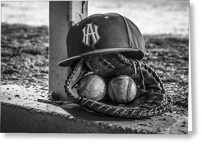 Black And White Ha Baseball Hat With Mitt And Balls Greeting Card by Jeremy Raines