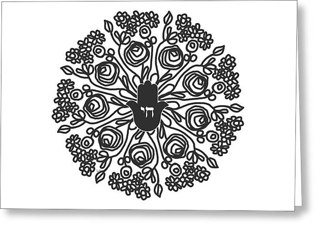 Black And White Hamsa Mandala- Art By Linda Woods Greeting Card by Linda Woods