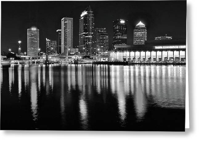 Black And White Harbor In Tampa Bay Greeting Card by Frozen in Time Fine Art Photography