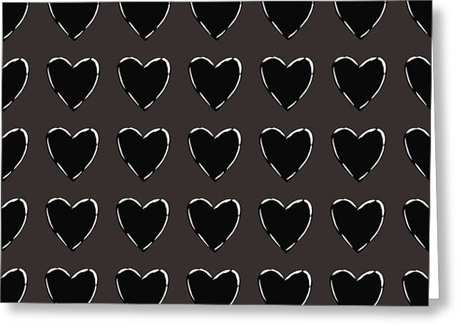 Black And White Hearts 1- Art By Linda Woods Greeting Card by Linda Woods