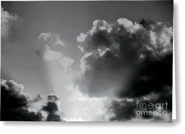 Black And White Heavenly Light Greeting Card