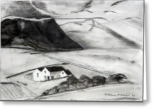 Black And White House And Hills Greeting Card