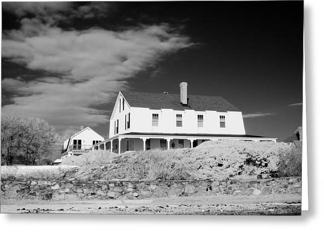 Black And White Image Of A House In New England In Infrared Greeting Card by David Thompson