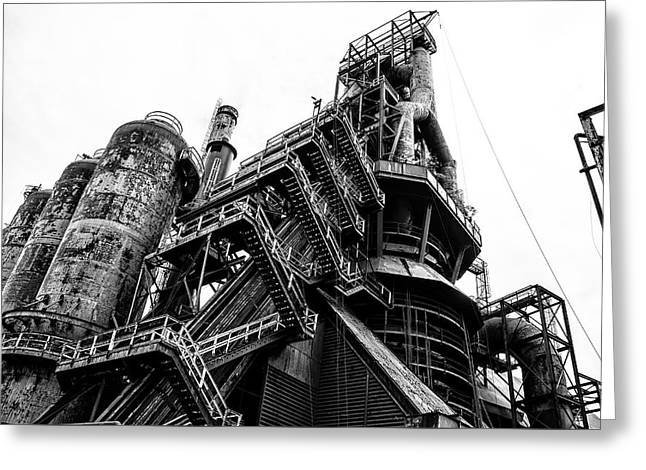 Black And White Industrial - Bethlehem Steel Greeting Card by Bill Cannon