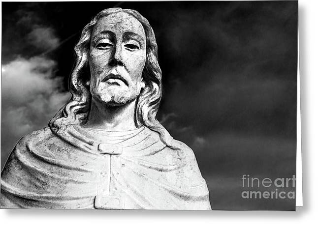 Black And White Jesus Sculpture Shoulders Up Woodlawn Memorial Park Cemetery Nashville Tn Greeting Card