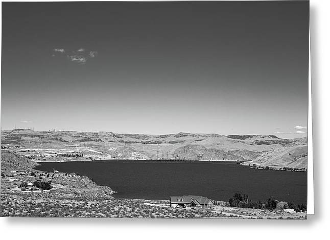 Greeting Card featuring the photograph Black And White Landscape Photo Of Dry Glacia Ancian Rock Desert by Jingjits Photography