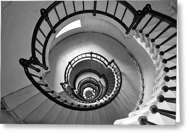 Black And White - Lighthouse Stairs Greeting Card