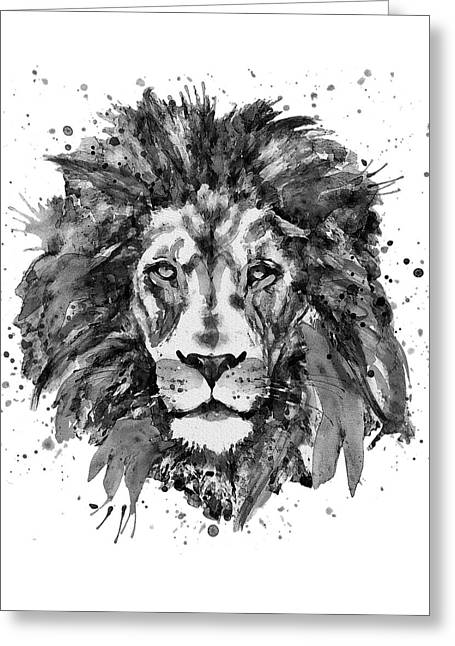 Black And White Lion Head  Greeting Card by Marian Voicu