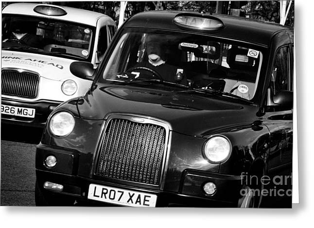 Black And White London Taxi Cabs Greeting Card by Andy Smy