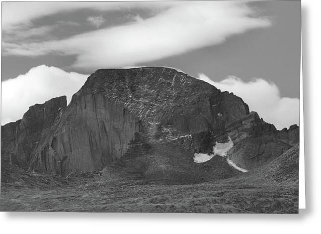 Greeting Card featuring the photograph Black And White Longs Peak Detail by Dan Sproul