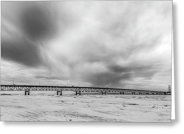 Greeting Card featuring the photograph Black And White Mackinac Bridge Winter by John McGraw