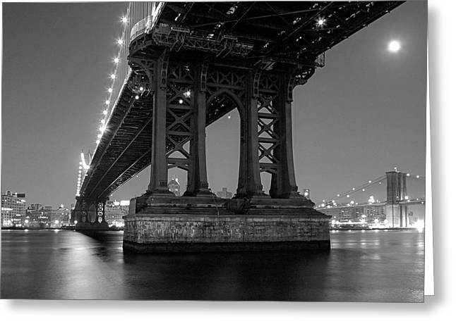 Greeting Card featuring the photograph Black And White - Manhattan Bridge At Night by Gary Heller