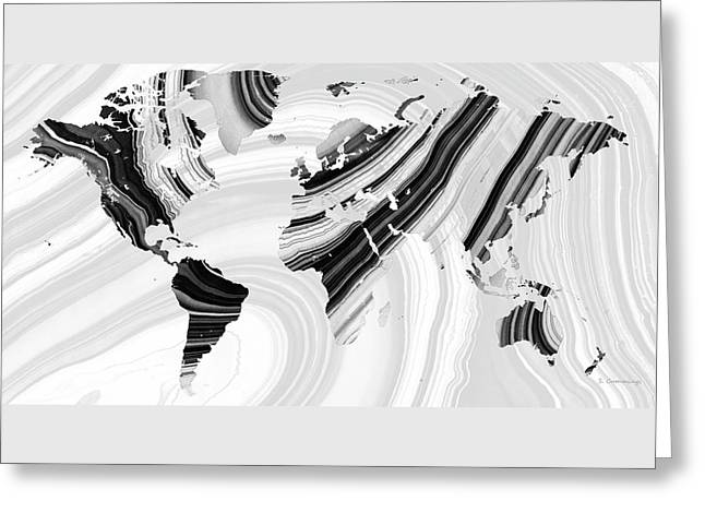 Black And White Marbled World Map - Sharon Cummings Greeting Card