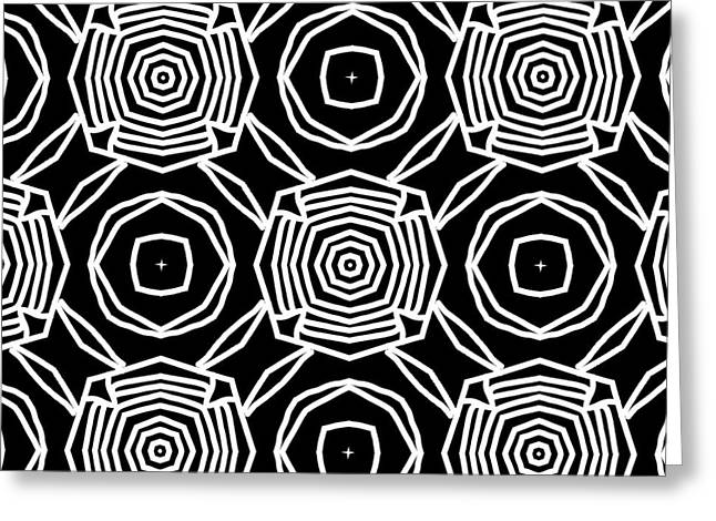 Black And White Modern Roses- Pattern Art By Linda Woods Greeting Card