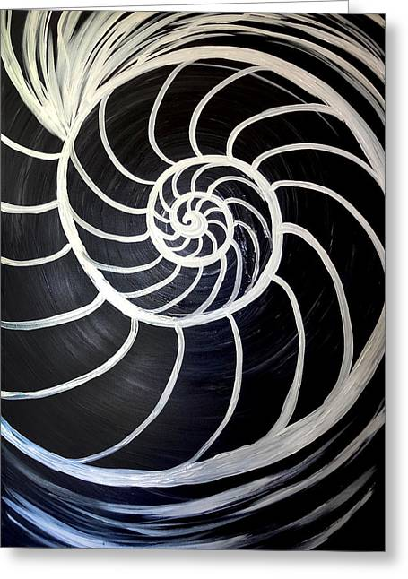 Black And White Nautilus Spiral Greeting Card
