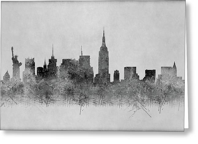 Greeting Card featuring the digital art Black And White New York Skylines Splashes And Reflections by Georgeta Blanaru
