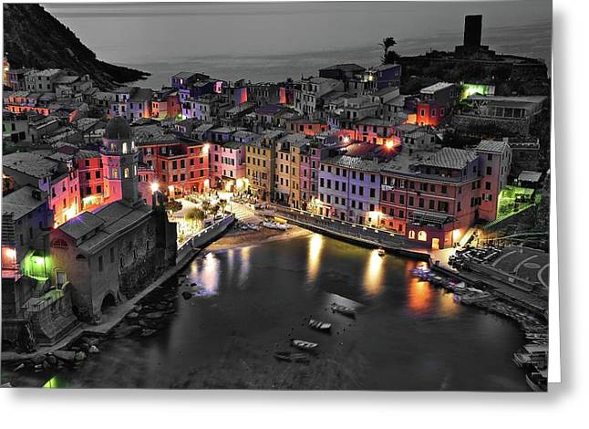 Black And White Night But Still Colorful City Greeting Card by Frozen in Time Fine Art Photography