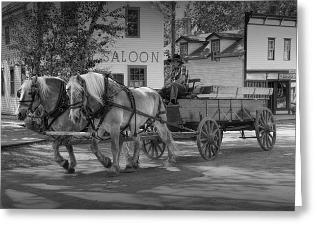 Black And White Of A Team Of Horses Drawing A Wagon Greeting Card