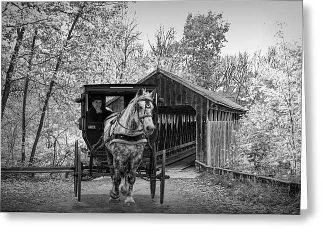 Black And White Of A Wooden Covered Bridge And Amish Horse And Buggy Greeting Card by Randall Nyhof
