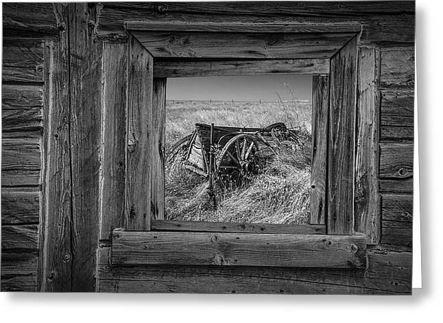 Black And White Of Barn Window And Farm Wagon Greeting Card