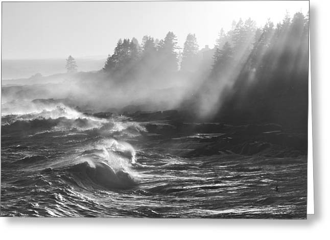 Black And White Of Large Waves Lightbeams Pemaquid Point Maine Greeting Card by Keith Webber Jr